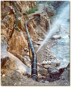 Water spraying from broken water pipeline at Grand Canyon National Park